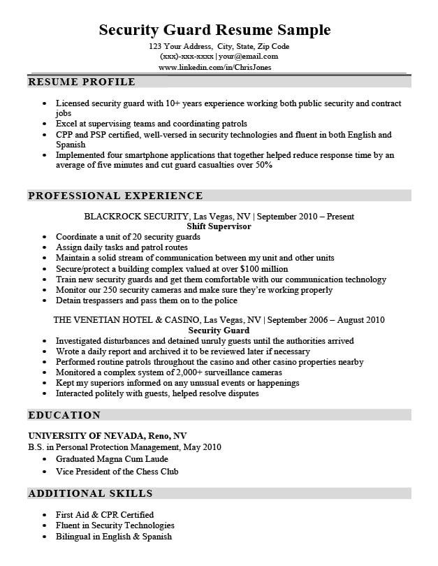 resume samples by job title