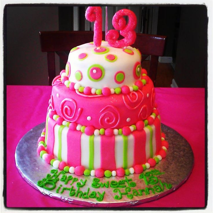 Three Tier Sweet 13 Birthday Cake My Cakes And Cupcakes Pinterest