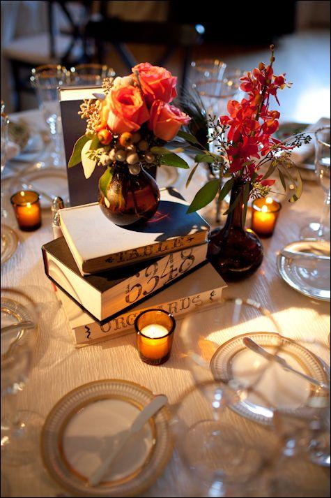 book stack centerpiece