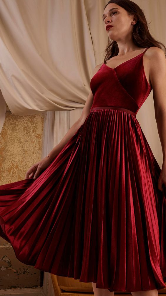 5a6e27738296 Stunning pleated red midi dress perfect for a wedding guest this season