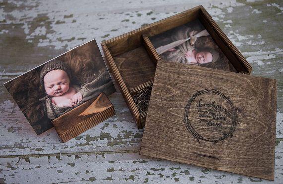 5 x 7 hout afdrukken doos met foto stand en door AutumnWoodWork