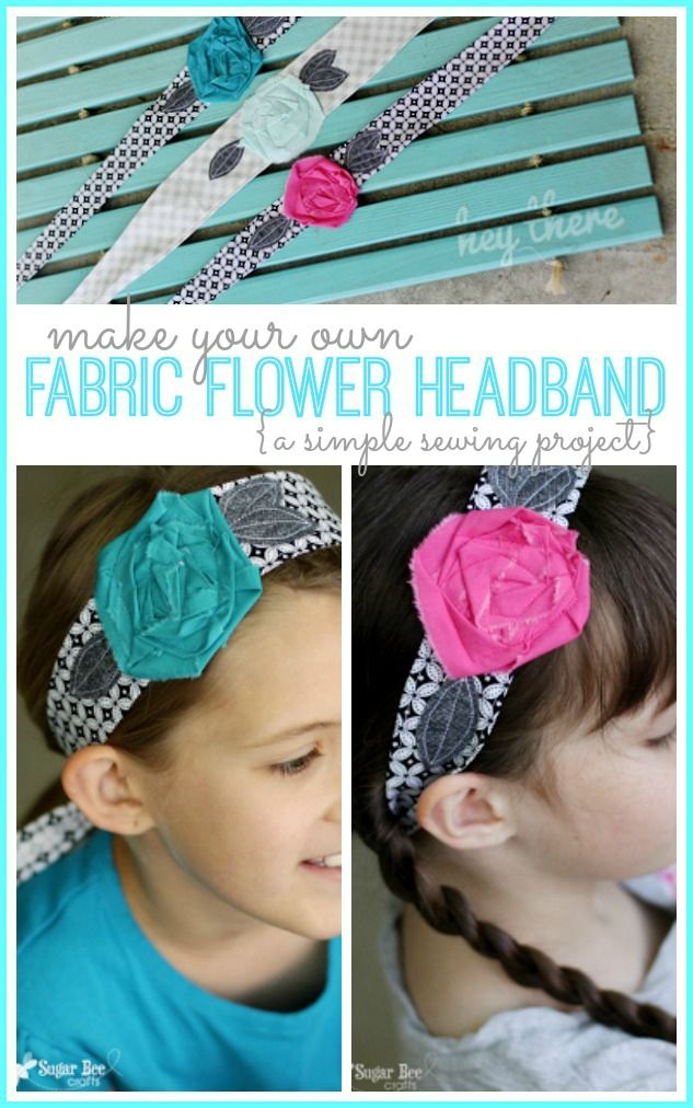how to make your own Fabric Flower Headband Wrap - - this is a fun and simple beginning sewing project, and it'd make a fun summer activity ~ Sugar Bee Crafts