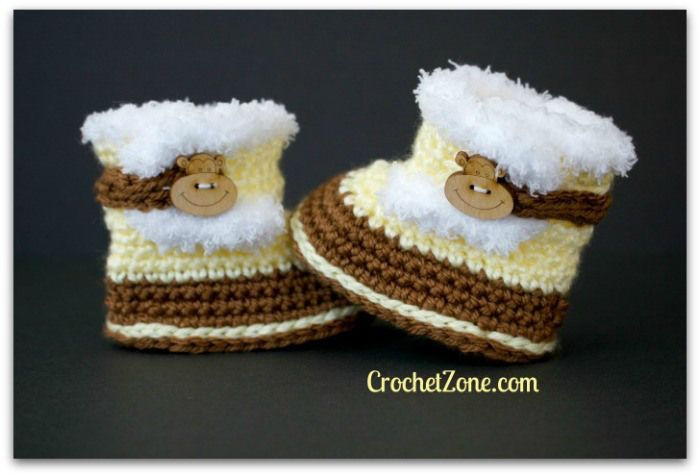 Free Crochet Pattern for Fuzzy Booties by Crochet Zone #freepatterns #crochet #crochetzone