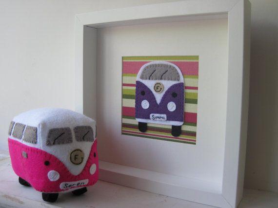 VW Campervan Gift Felt Campervan Picture & Cuddly by GracesFavours, £50.00