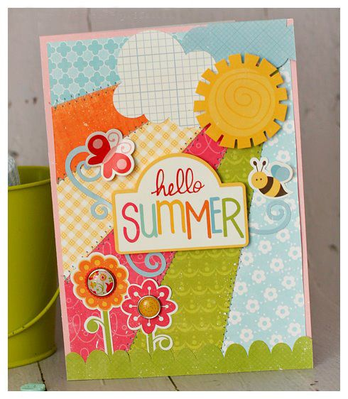 Hello summer :Echo Park: Scrapbook Ideas, Cards Ideas, Cute Cards, Summer Cards, Cards Papercraft, Cards Inspiration, Scrapbook Pages, Echo Parks Cards, Hello Summer
