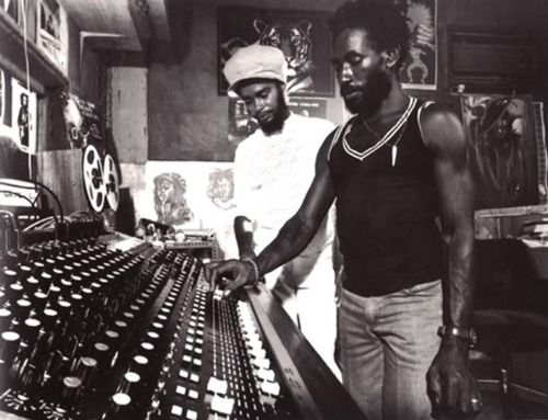 """Lee """"Scratch"""" Perry with Max Romeo (at Perry's Black Ark Studio, presumably) // Photo by David Burnett //"""