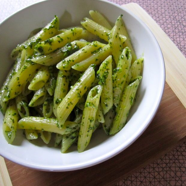 Pesto without pine nuts, like actual, authentic, Northern Italian pesto. Super cheap and not too difficult to do at home.