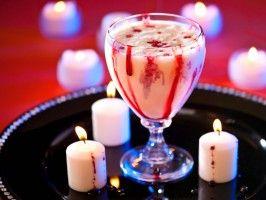 Vampire Cocktail from CookingChannelTV.com~1 scoop vanilla ice cream 1 oz. triple sec 1/2 oz. white creme de cacao Drizzle of grenadine