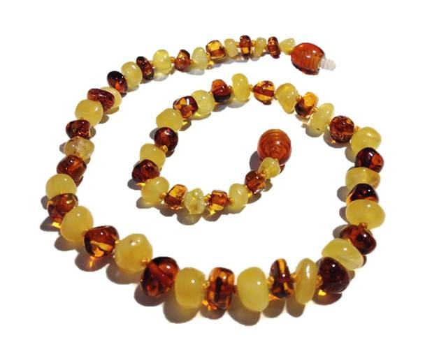 Genuine Baltic Amber Teething Necklace - Cognac Mixed With White