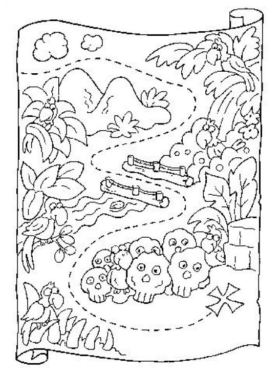 Map Coloring Pages For Kindergarten : Preschool coloring page of treasure map printable