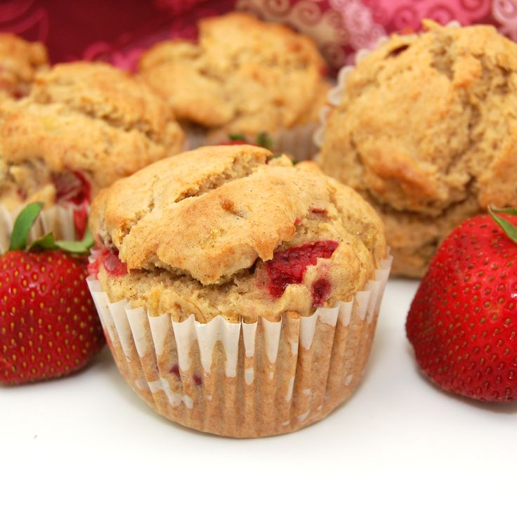 Strawberry Banana Muffins - Delicious! You could easily swap the strawberries for another fruit, too. Yum!