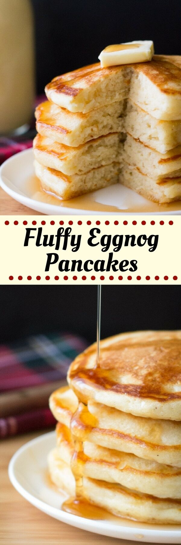 These thick, fluffy Eggnog Pancakes are the perfect for holiday breakfast for eggnog lovers. Don't wait til Christmas for these delicious pancakes! #eggnogpancakes #eggnog #pancakes