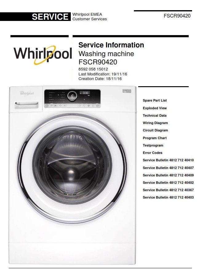 Whirlpool Fscr90420 Washing Machine Service Manual Washing Machine Service Washing Machine Whirlpool