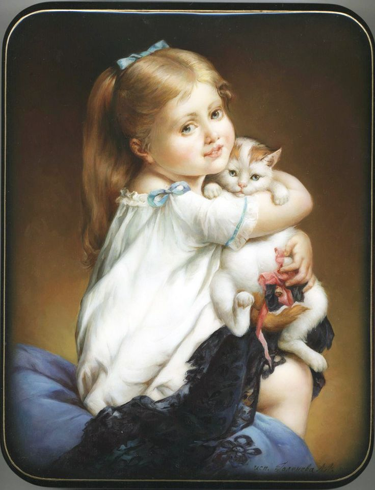 "Fedoskino. Russian Lacquer Art Titled ""Portrait of Girl with Kitten"" Artist Goleneva"