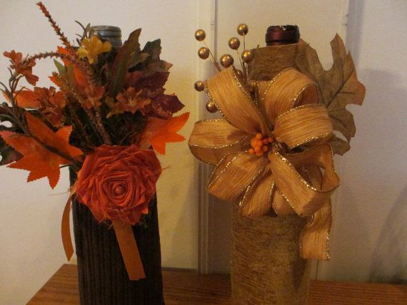 Beige thanksgiving wine bottle covers