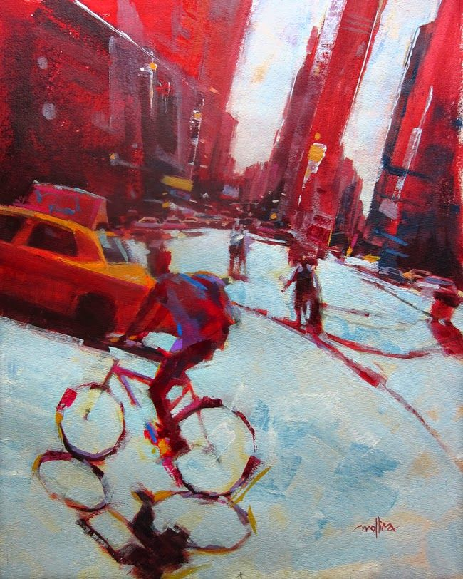 A Painting a Day by Patti Mollica: NYC Biker
