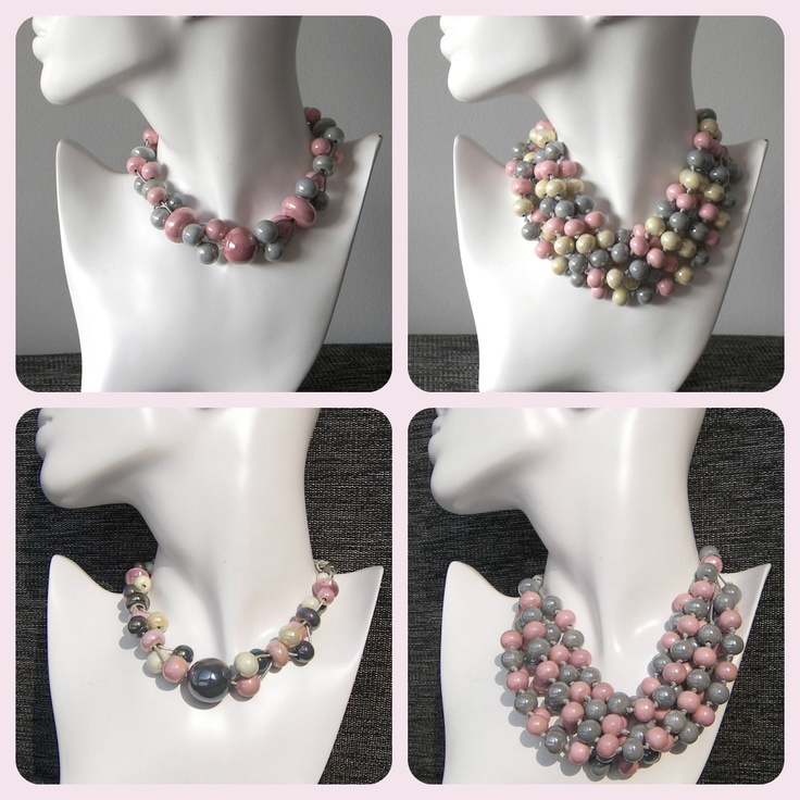 PInk and grey ceramic necklace.