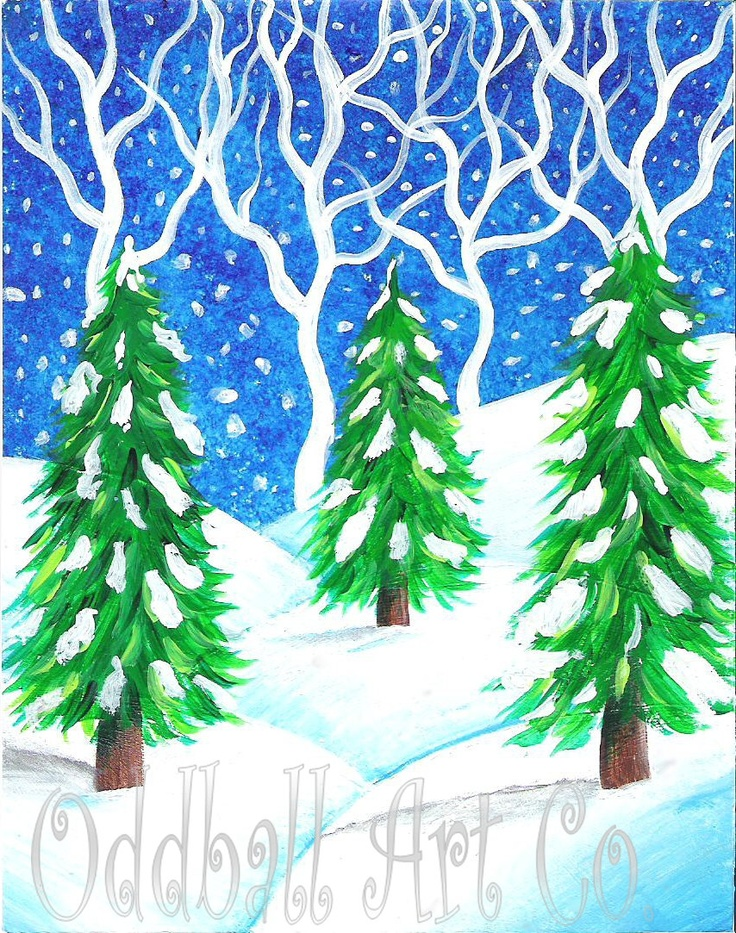 Christmas Evergreen Trees Winter Wonderland Snow Whimsical Whimsy Holiday Reproduction Greeting Card EAWT. $3.50, via Etsy.