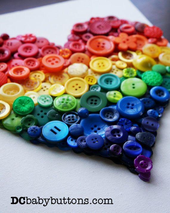 Ombre Rainbow Button Heart  3D Heart Button Art  by DCbabybuttons, $90.00