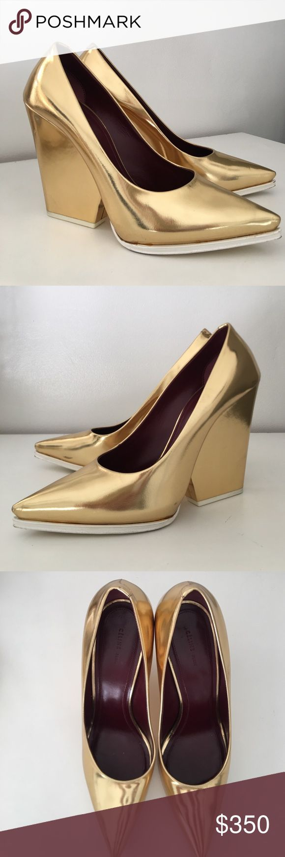 CELINE Gold Pointed Wedge Heels 9-9.5 Used once for a photo shoot! These run a bit narrow at the toes so fits more like a 9 than a 9.5. Minor scuffs around heel. Comes with original box (bought at Barneys) and authenticity card. Box has a few scuffs from being in my closet. Celine Shoes Heels
