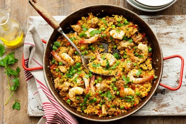 Saffron chicken and prawn paella with peas main image