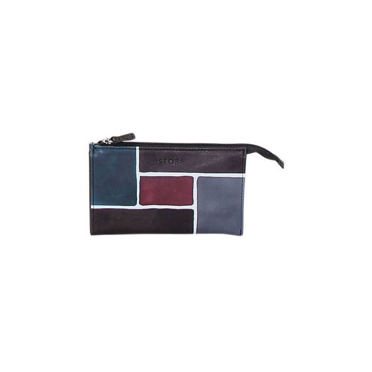Natural leather sachet, handpainted. 2 compartments and a key ring inside.Perfect idea for a present or simply match it to your Acquerello handbag. Colors black violet blue and light blueand pattern geometrical.