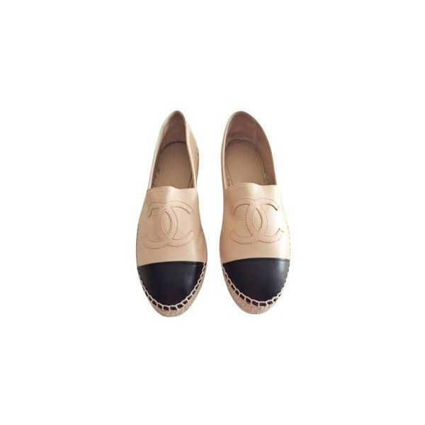 Chanel Beige/Black Lambskin Espadrilles Flats ❤ liked on Polyvore featuring shoes, flats, beige espadrilles, flat shoes, beige flats, black flat shoes and chanel