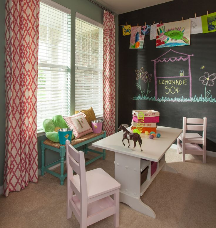 Can't get enough of these custom drapes from @Lauren Nicole Designs in this fun craft room!: Playrooms Ideas, Art Crafts, Schools Rooms, Crafts Rooms, Kids Spaces, Plays Rooms, Crafts Tables, Chalkboards Wall, Kids Rooms