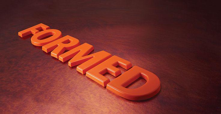Orange formed plastic letters.