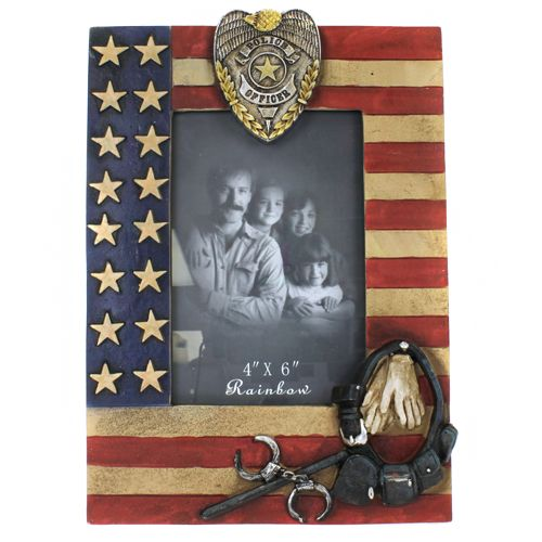 OH SO COOL POLICE PICTURE FRAME POLICE BADGE HANDCUFFS BATON POLICE FLAG LOVEE