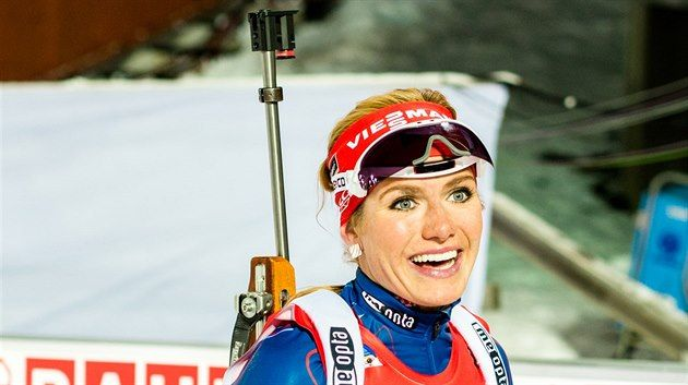 ÚSMĚV V CÍLI. Gabriela Soukalová po vytrvalostním závodu v Östersundu.