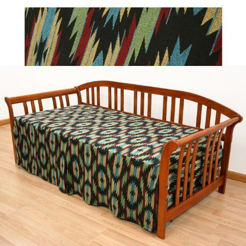Little Joe Southwestern Daybed Cover Twin 624 by SlipcoverShop. $79.00. In Stock - Ships within 2 days. See Sizing and Product Description below. Easy Fit® daybed cover is sewn in such a way that you will no longer have to struggle with tucking excess fabric down the back of the daybed. Features three sided skirt, a kick pleat in the front of cover and tailored split corners. Made to fit twin daybeds measuring 39 inches wide and 75 inches long. Standard skirt measures 21 inche...