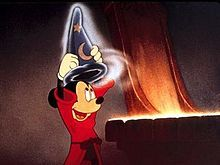 In 1940 Mickey appeared in his first feature-length film, Fantasia. His screen role as The Sorcerer's Apprentice, set to the symphonic poem of the same name by Paul Dukas, is perhaps the most famous segment of the film and one of Mickey's most iconic roles. The segment features no dialogue at all, only the music. The apprentice (Mickey), not willing to do his chores, puts on the sorcerer's magic hat after the sorcerer goes to bed and casts a spell on a broom, which causes the broom to come…