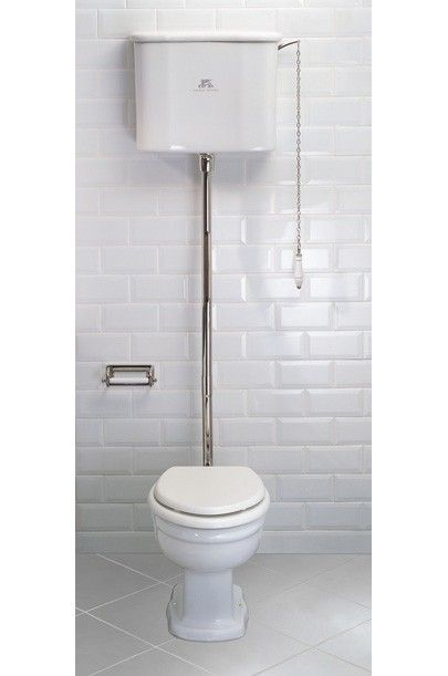 Lefroy Brooks La Chapelle high level toilet with decorative brackets, flush pipe, pull and chain LB7711, LB7709 ,LB7797, LB1310, LB7787, LB7780