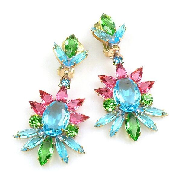 "Blush Earrings with Clips ~ Aqua Green Fuchsia. Breathtaking dangling clips-on earrings, length 2.90"". Price: $24.90"