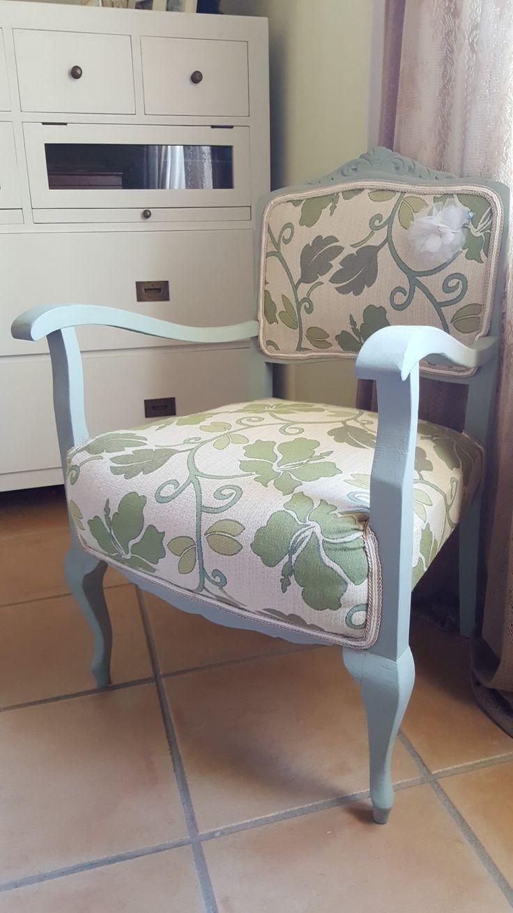 Descalzadora de la abuela. Decapado, arreglo de asiento tapizado y pintura de tiza