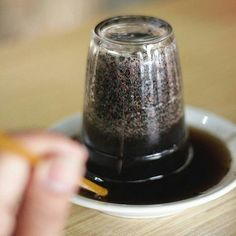 "Regram from @makanhalalmedan -  Pesan ini gak sengaja. Namanya ""Kopi Meulaboh"" (Rp 8.000). Unik penyajian dengan gelas kaca yang ditelungkupi di atas piring. Nah cara minum kopinya pakai sedotan dari kopi yang tertuang di atas piring. Kopinya sendiri kopi tubruk pakai gula. Di Meulaboh sana minum kopi memang kayak gini ya?  . #makanhalalmedan #kuliner #Medan #kopi #coffee . ""Rumoh Kupie Atjeh"" Jalan Raya Menteng Pasar Merah sebelum jembatan Sungai Denai."