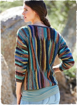 Shifting bands of color form a mirage on this striking pima cardigan from Kaffe Fassett. Handloomed in tweeded hues of midnight, cornflower ...