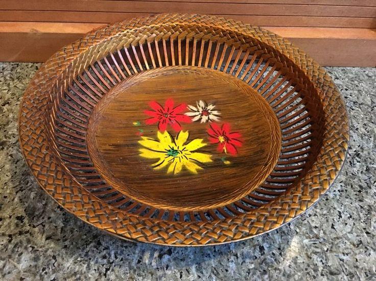 Vintage NEVCO British Hong Kong Plastic Floral Bowl with Basket Weave Design  | eBay
