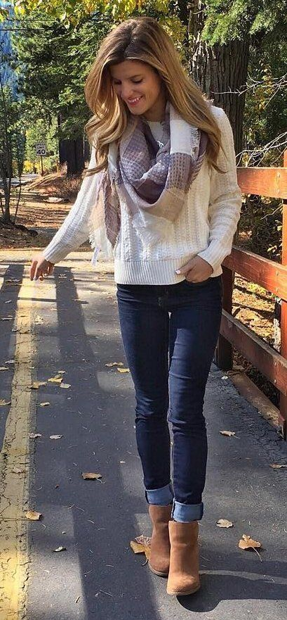 #winter #outfits /  White Knit // Printed Scarf // Skinny Jeans // Camel Booties