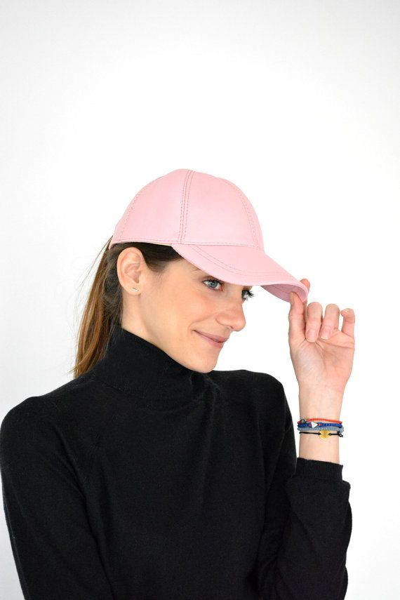 Women's Handmade pink leather ball cap pink baseball by lefushop