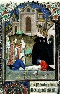 Cote :Ms 5140 Auteur : Titre :Livre d'heures à l'usage de Paris (sans doute pour une dame angevine) Légende :Prêtre célébrant le rite des funérailles ; encadrement ; bordure habitée ; Oiseaux ; initiale ornée Enlumineur :Maître de Giac Date :15e siècle ; 1430 environ Nom de l'image :Ms 5140, f. 139