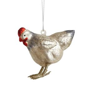 Hand-Painted Glass Hen Ornament from My Pet Chicken