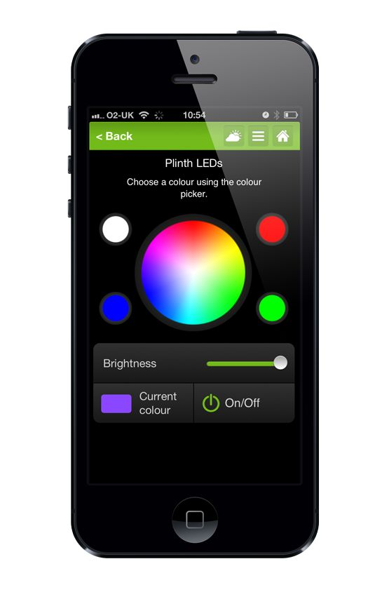Use our app to control your LEDs. from Loxone.