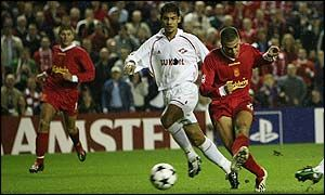 Liverpool 5 Spartak Moscow 0 in Oct 2002 at Anfield. Bruno Cheyrou opens the scoring in this Champions League, group game.