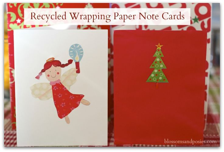 Recycled Wrapping Paper Note Cards:100 Days of Homemade Holiday Inspiration on HoosierHomemade.com #100Days, #Recycled #Crafts