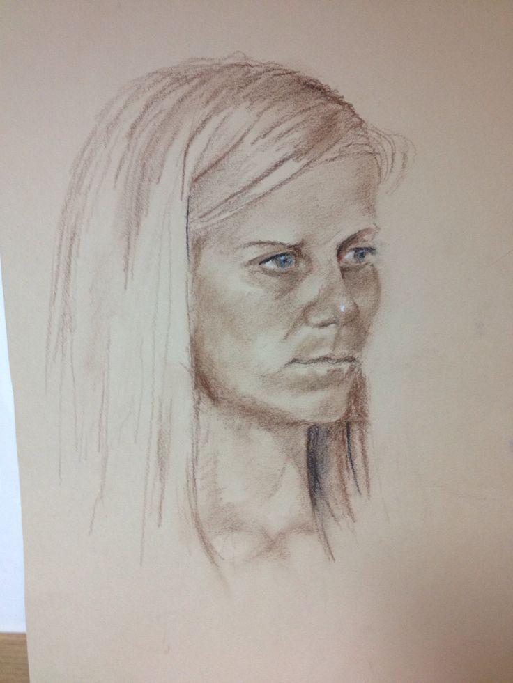 Julia-Art class model. Pastels. Sept 2014.