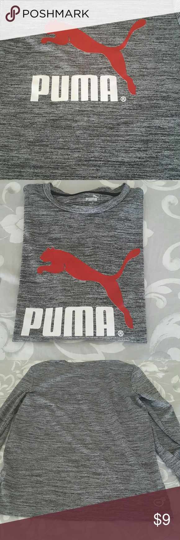 Puma shirt Gently used,  no pilling, holes or stains light weight hearhered grey puma shirt. Excellent for the upcoming Spring soccer season. Puma Shirts & Tops Tees - Long Sleeve