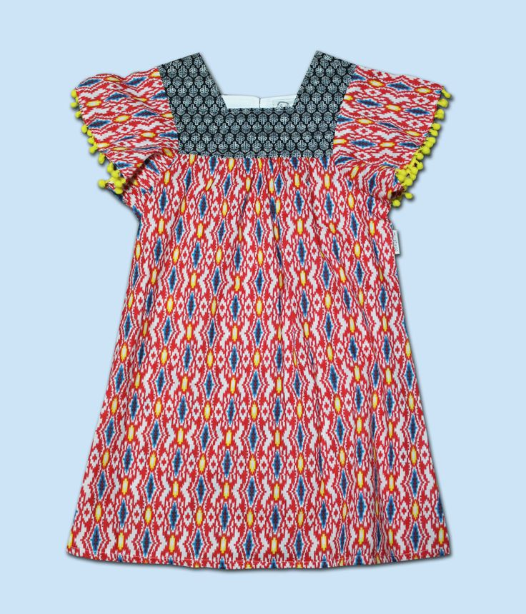 Girls Summer Indian Geometric Print Dress with Pom Pom Sleeve by HullabalooKids on Etsy