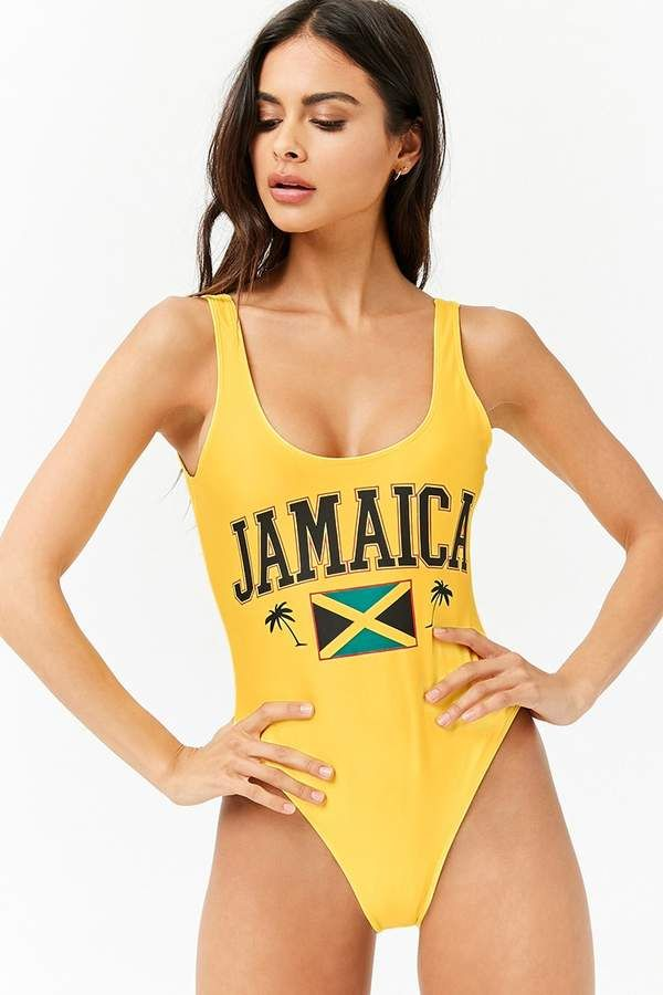 273bf2964 FOREVER 21 Jamaica Graphic One-Piece Swimsuit